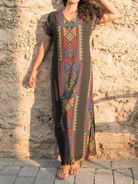 Ethnic Print bohemian kaftan Casual Maxi Dress