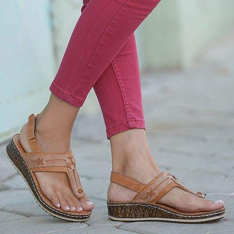 Summer Block Heel Artificial Leather Sandals