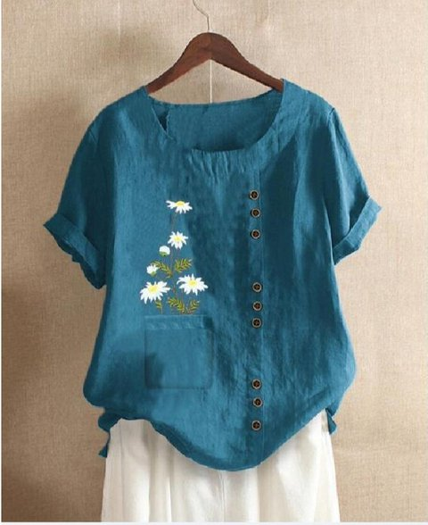 Floral Casual Short Sleeve Shirts & Tops