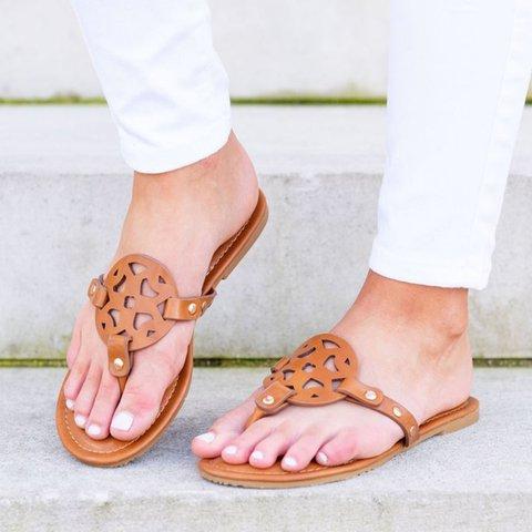 Women Slide Hollow Out Flat Heel Date Pu Summer Sandals