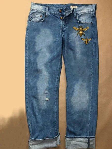 Blue Denim Vintage Printed Shift Pants