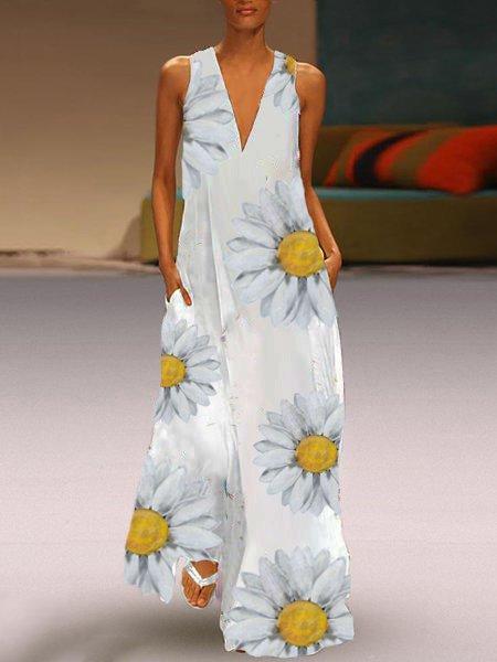 White Floral Casual V Neck Dresses