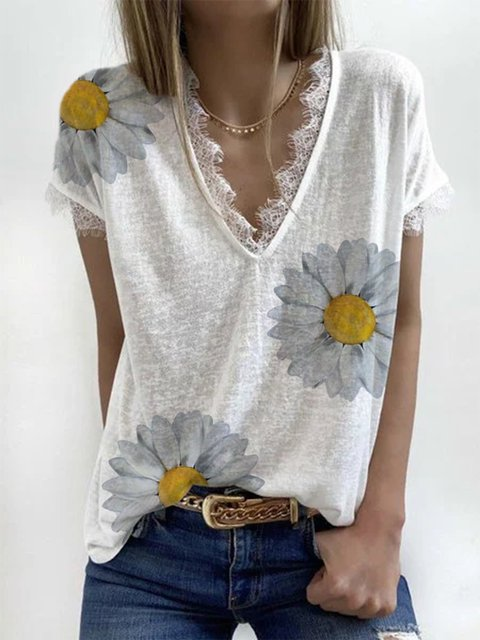 White Short Sleeve Cotton Shirts & Tops