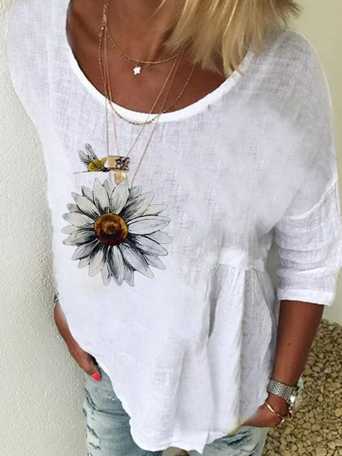 White Long Sleeve Printed Crew Neck Cotton Shirts & Tops