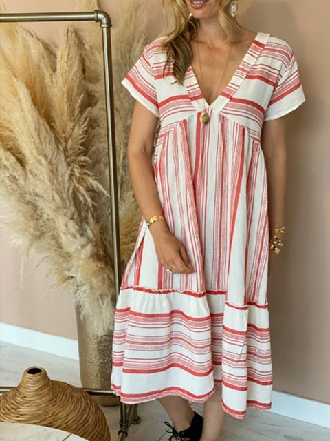 Red Striped Casual Maxi Dresses