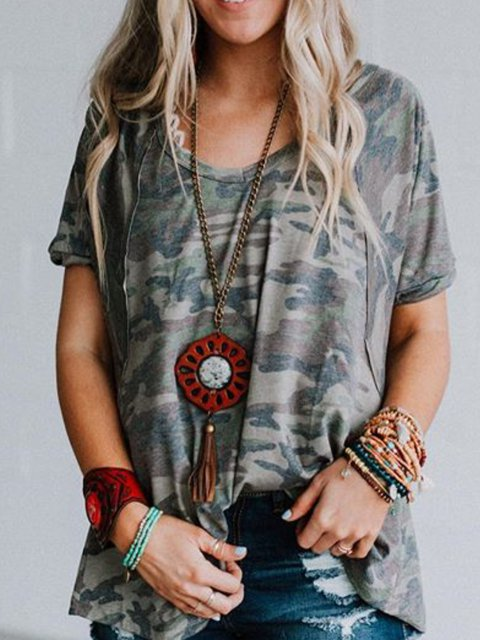 Camouflage Simple Round Neck Short Sleeve Tops