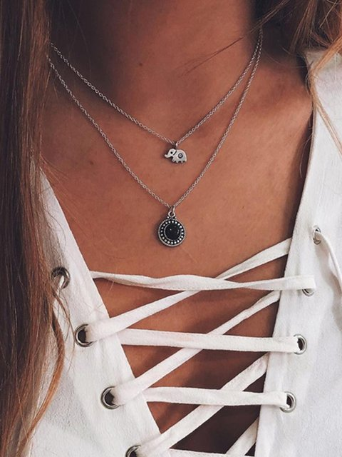 Silver Elephant Multi-layer Necklaces