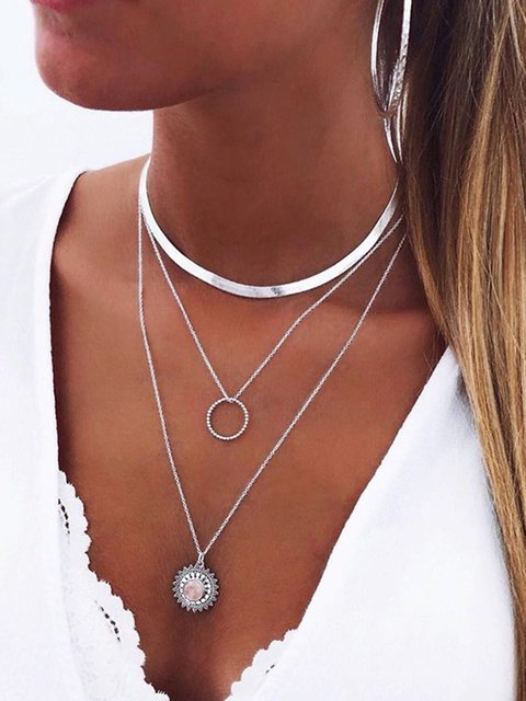 Silver Multi-layer Long Clavicle Necklaces