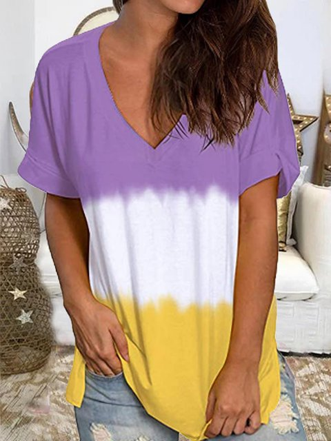 Purple Short Sleeve Gradient Shirts & Tops