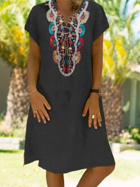 Holiday casual v-neck short sleeve cotton and linen print dress