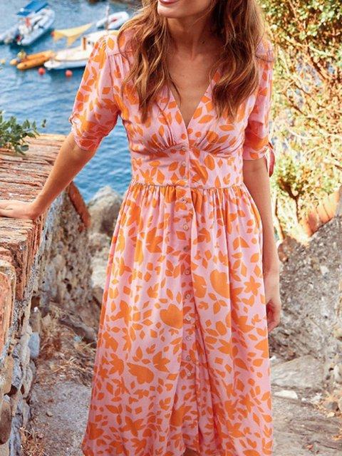 Orange Holiday Date Daily Seaside Printed Half Sleeve V Neck A-line Dresses