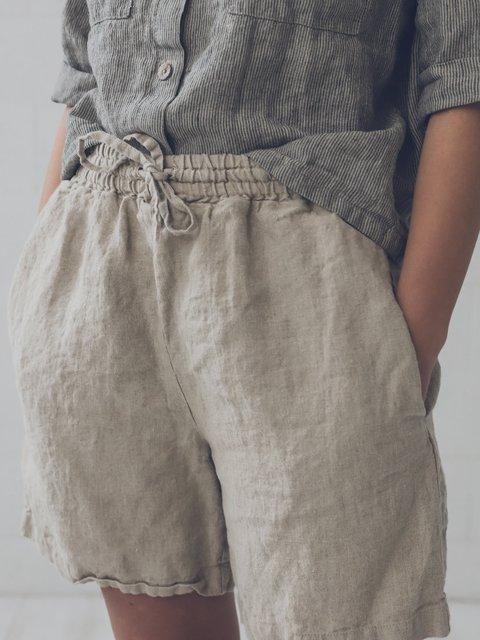 Casual Linen Loose Fit Drawstring Shorts