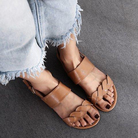 Women Slide Open Toe Flat Heel Pu Fall Sandals