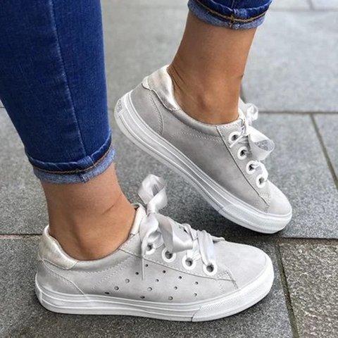 Solid Lace-up Women Flat Heel All Season PU Sneakers
