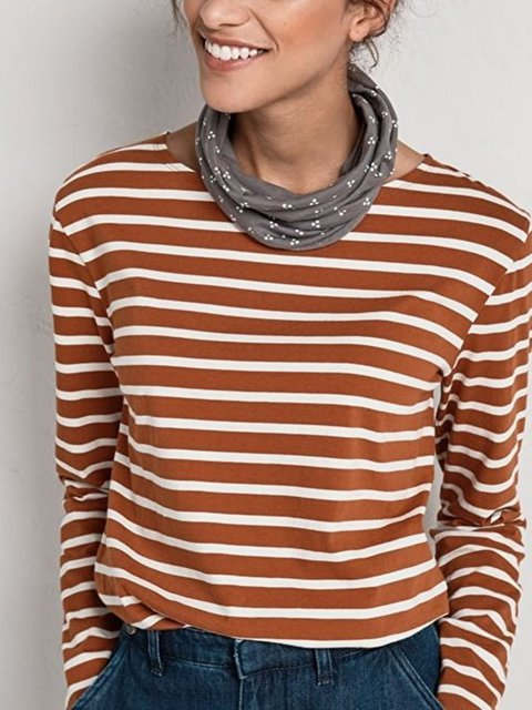 Brown Crew Neck Casual Long Sleeve Shirts & Tops