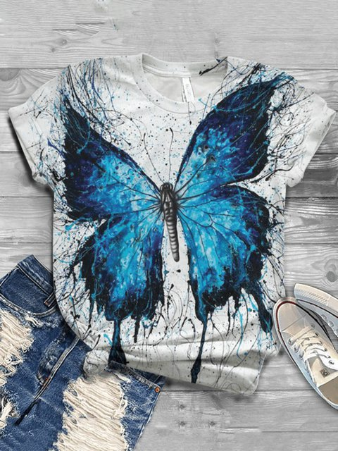 Butterfly Crew Neck Casual  Tops