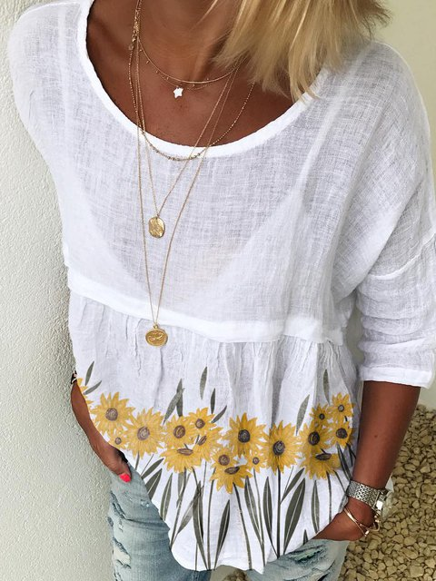 Linen 3/4 Sleeve Floral-Print Floral Shirts & Tops