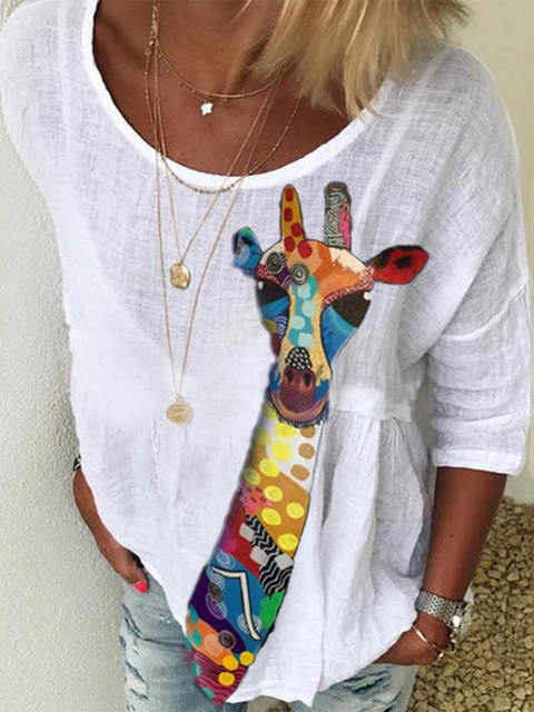 White Crew Neck Floral-Print Long Sleeve Shirts & Tops