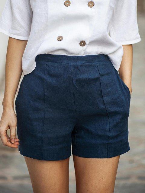 Casual High Waisted Linen Shorts