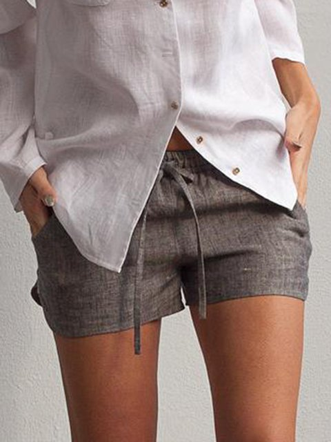Women's Elastic Waist Loose Linen Shorts