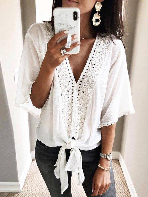Holiday Lace Paneled V Neck Shirts & Tops