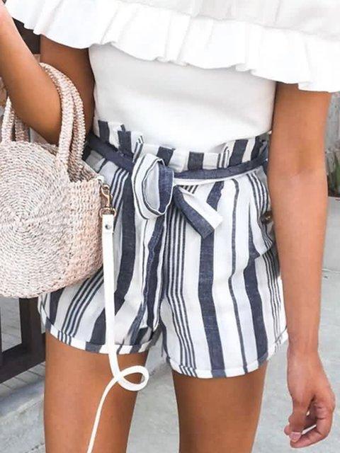 Pockets Stripes Casual Short Pants