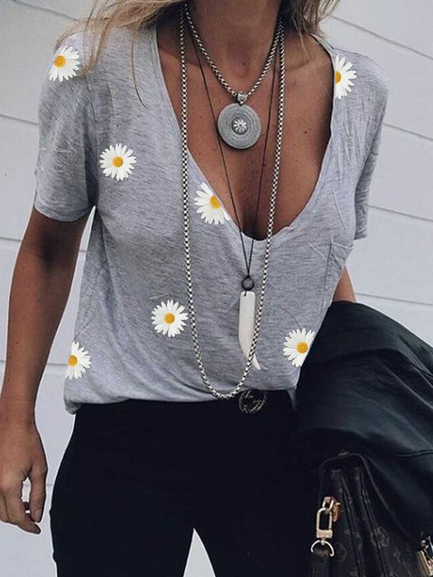 Light Gray Patchwork Printed Cotton Casual Shirts & Tops
