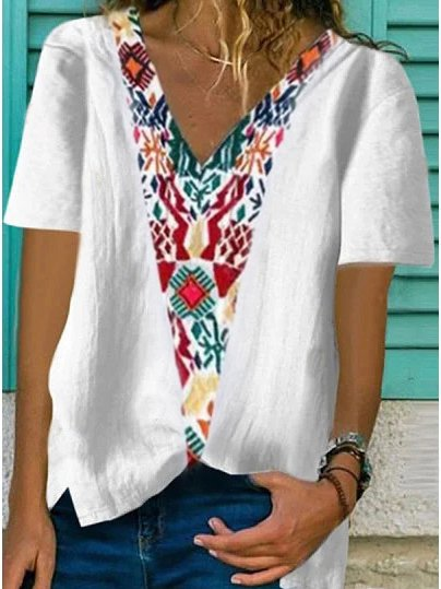 Cotton-Blend Floral Short Sleeve Printed Shirts & Tops