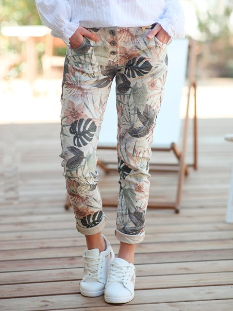 Cream Casual Floral-Print Floral Pants