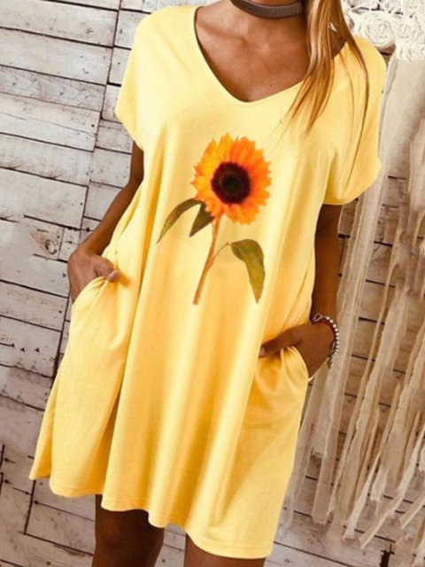 Yellow Floral Date Daily Casual V neck A-Line Short Sleeve Dresses