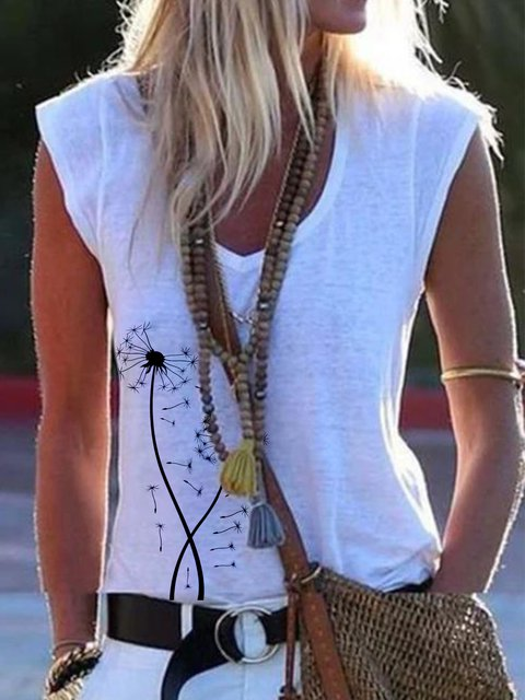 White Casual Short Sleeve Printed V Neck Tops
