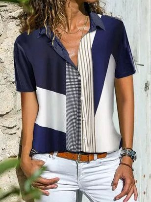 V Neck Cotton-Blend Casual Shirts & Tops
