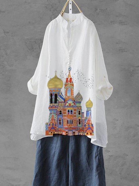 White Floral-Print Cotton-Blend Short Sleeve Shirts & Tops