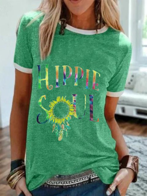 Green Short Sleeve Printed Casual Round Neck Tops