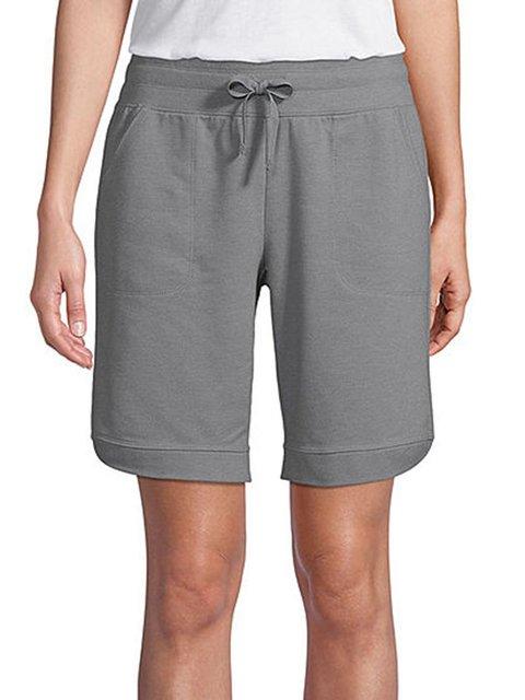 Gray Casual Cotton-Blend Plain Pants