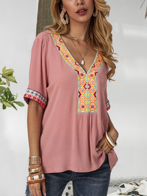 Pink Tribal Shift Short Sleeve Cotton-Blend Shirts & Tops