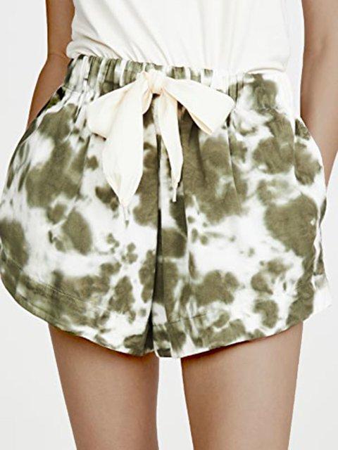 Green Ombre/tie-Dye Cotton-Blend Casual Pants