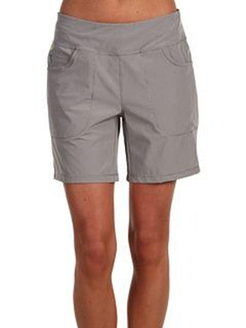 Deep Gray Plain Casual Cotton-Blend Pants