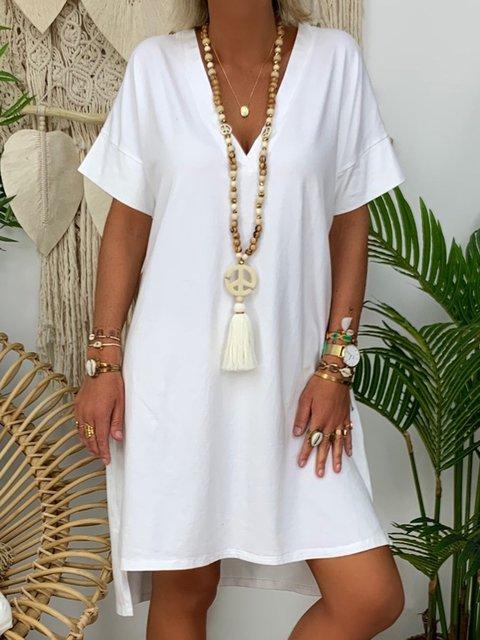 Solid Color V-neck Loose Dresses