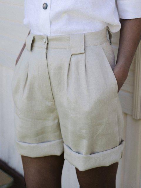 Summer Solid Linen High Waist Shorts