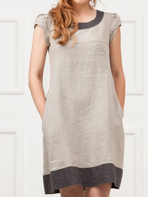 Linen Paneled Short Sleeve Dresses