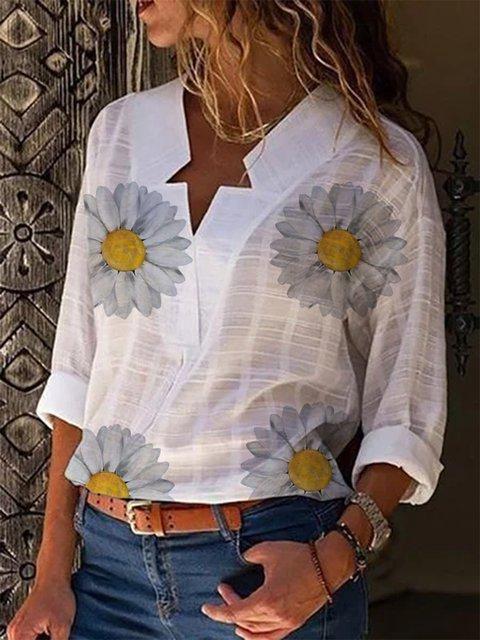 White Long Sleeve Printed Shirts & Tops