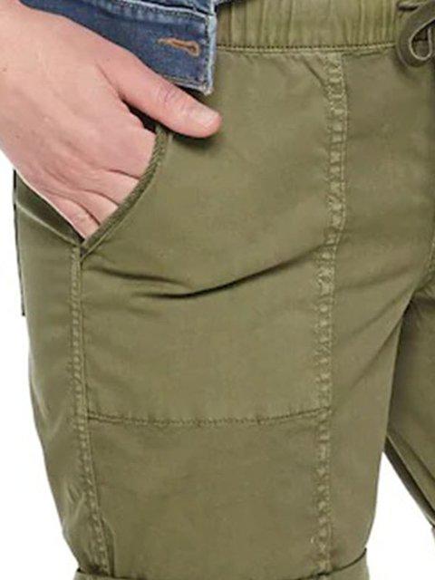 Army Green Cotton-Blend Casual Plain Pants