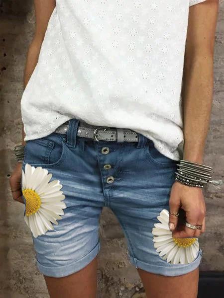 Denim Casual Floral-Print Pants