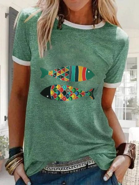 Green Short Sleeve Shift Shirts & Tops