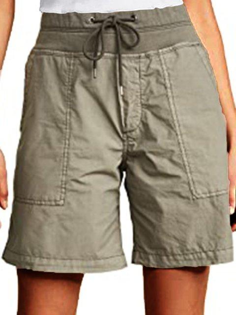 Army Green Cotton-Blend Plain Casual Pants