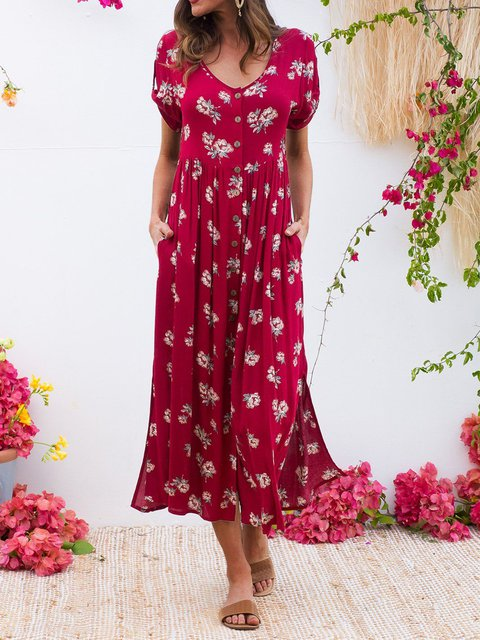 Floral Maxi Dress Plus Size Short Sleeve Printed Dresses
