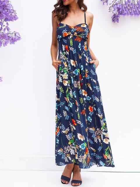 Floral Spaghetti Maxi Dress Plus Size Boho Printed Dresses