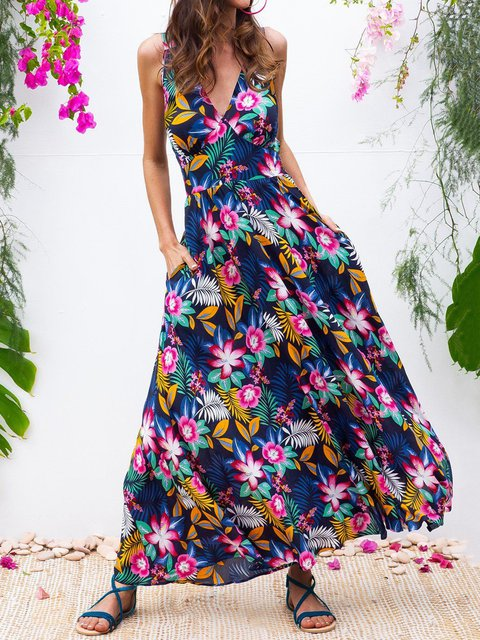 Floral Sleeveless Maxi Dress Plus Size Pockets Dresses