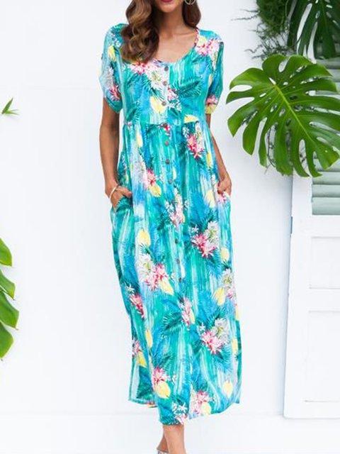 Floral Pockets Maxi Dress Plus Size Crew Neck Short Sleeve Dresses